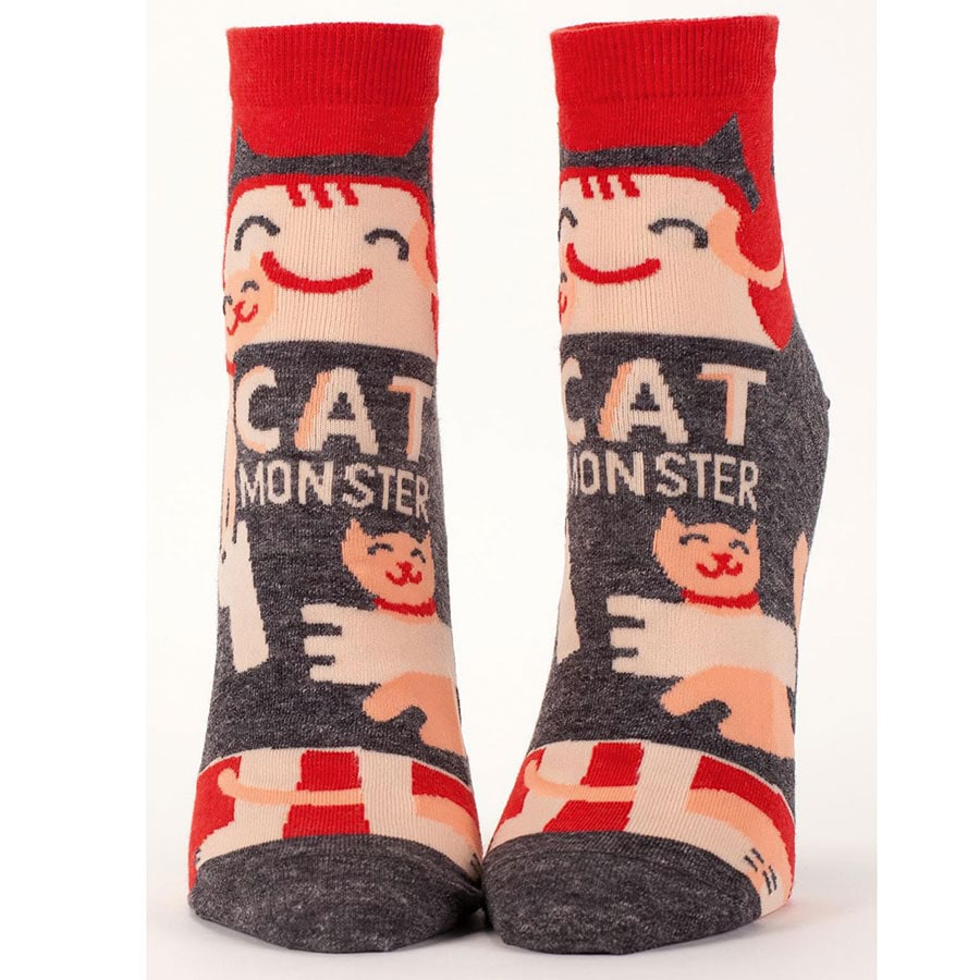 Womens Ankle Socks: Monster Range Coffee Monster