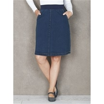 Rib Waist Denim Skirt