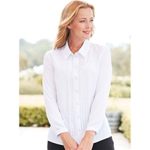 Embroidered Pintuck Blouse