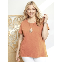Short Sleeve Pleat Back T-Shirt [PLUS SIZE]