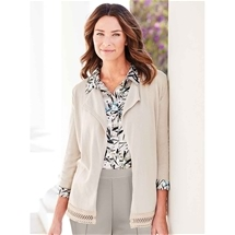 Lace Trim Cotton Cardigan