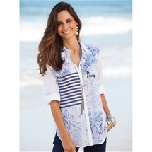 Patchwork Button Up Blouse