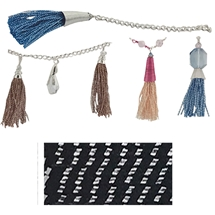 Metallic Silver on Black Tassel Cord