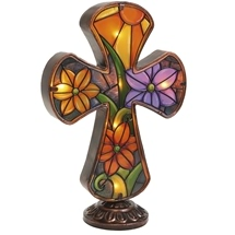 Stained Glass Cross Light