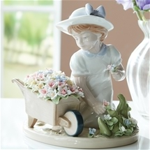 Flower Wheelbarrow Figurine