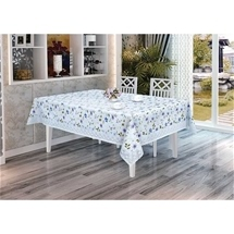 PVC Tablecloth Blue w Lace Obl