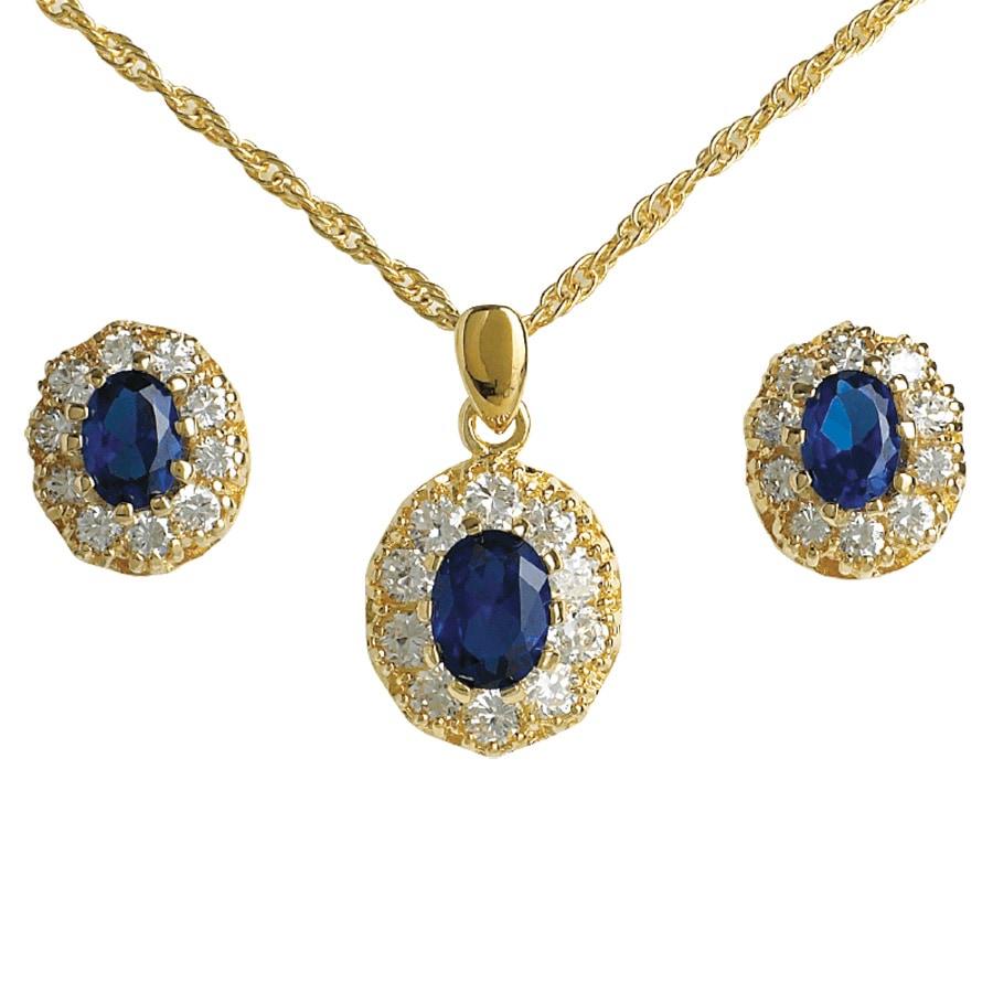 Neck Pendant & Earrings Saphire Crystal
