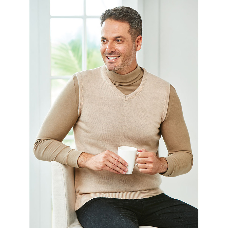 Mens Thermal V-Neck Vest Taupe S