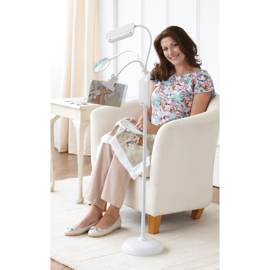 LED Floor Lamp with Magnifier & Clip