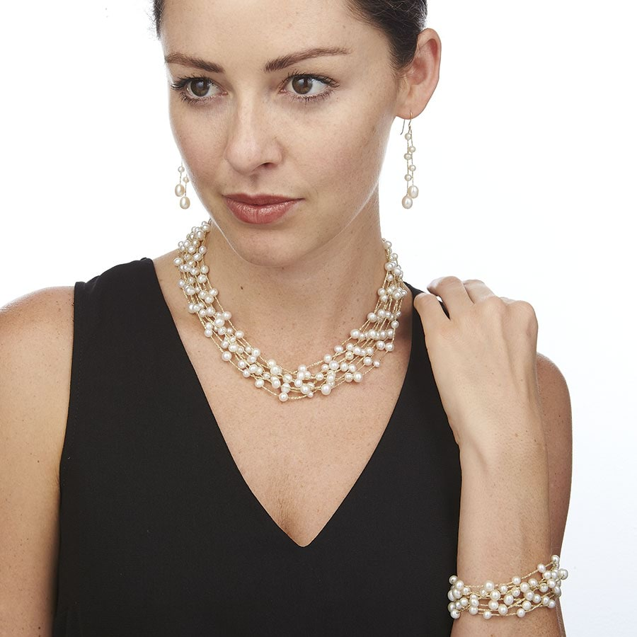 Multi Strand Fresh Water Pearl Necklace
