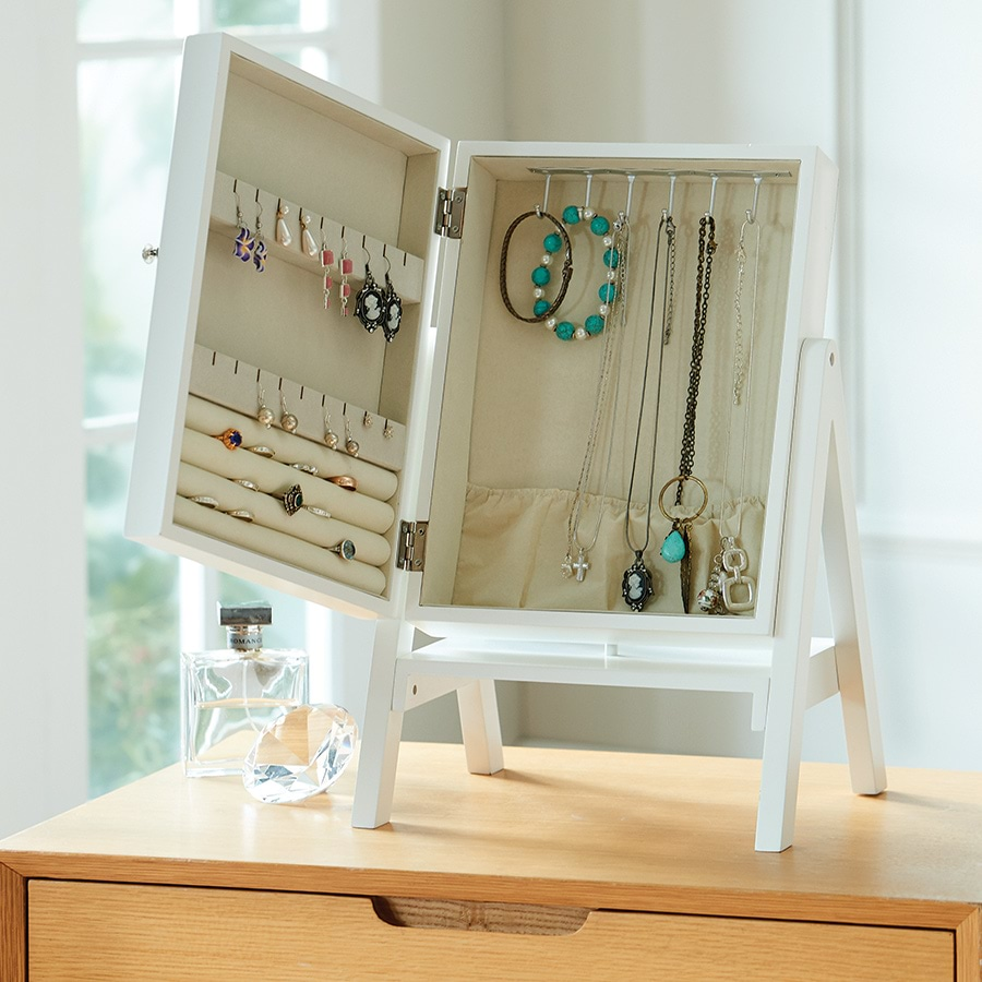 Tabletop Jewellery Storage Stand Mirror Cabinet