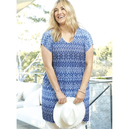 V-Neck Print Dress [PLUS SIZE]