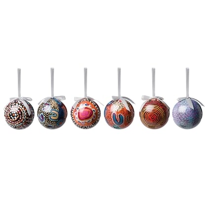 Aboriginal Design Baubles Set of 6
