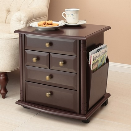 Five Drawer Magazine Side Table